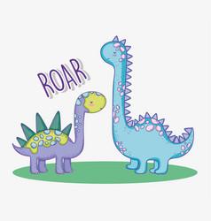 Cute stegosaurus and diplodocus wildlife animal vector