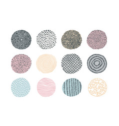Doodle texture abstract hand drawn circles with vector
