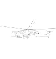 drawing of helicopter wireframe concept vector image