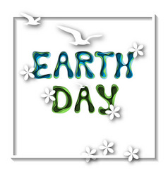 Earth day greeting card template with hand drawn vector