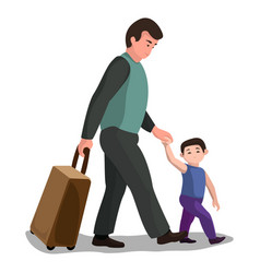 father child migrant icon cartoon style vector image