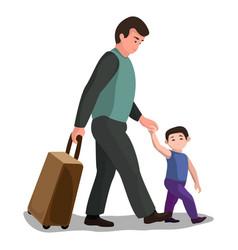 Father child migrant icon cartoon style vector