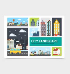 flat city landscape infographic concept vector image