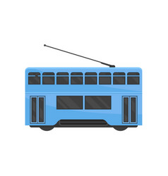 Flat icon of blue hong kong tramway public vector