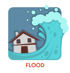flood natural disaster isolated icon water wave vector image