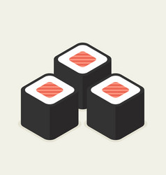 food -set of sushi roll with nori modern 3d flat vector image