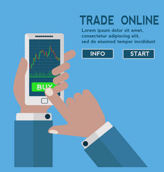 Forex trading japanese candles chart on a mobile vector