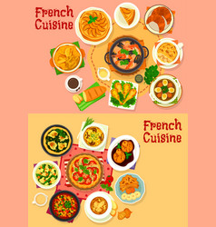 french national cuisine healthy dishes vector image
