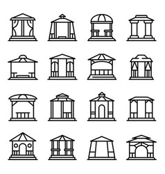 Gazebo icons set outline style vector