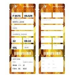 Gold boarding pass vector