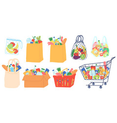 grocery bags and carts shopping basket paper and vector image