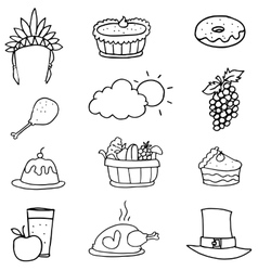 Hand draw object thanksgiving doodles vector