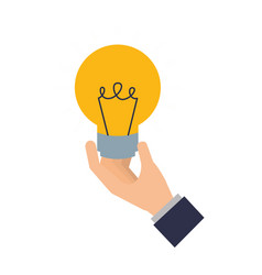 hand with light bulb isolated icon vector image