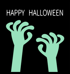 Happy halloween zombie hands rising out vector