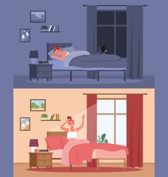 happy sleep and awakening young characters sleep vector image