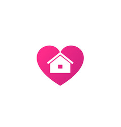 home and heart logo vector image
