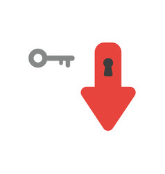 icon concept of arrow moving down with keyhole vector image