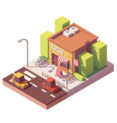 Isometric bicycle shop vector