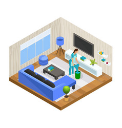 Isometric house cleaning concept vector