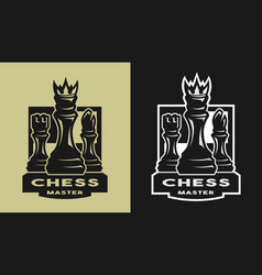 King bishop castle chess game emblem logo vector