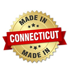 Made in connecticut gold badge with red ribbon vector