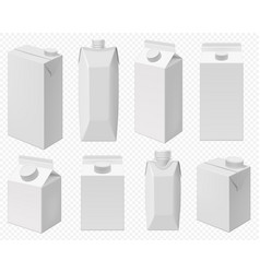 milk and juice pack realistic carton package vector image