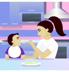 Mother feeding child in kitchen vector