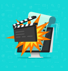 movie or online cinema on computer concept vector image