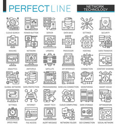 Network technology outline concept symbols vector
