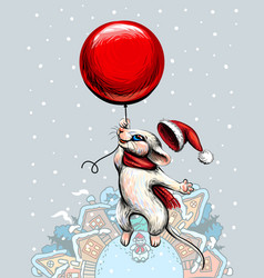 new year card with a cute mouse flying on a red ba vector image