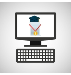 Online education technology cap certificate vector