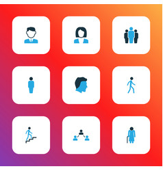 person icons colored set with climbing user vector image