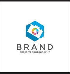 photography logo camera design vector image
