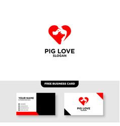 Pig logo template free business card mockup vector