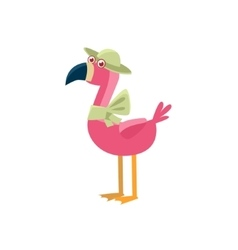 Pink Flamingo Wearing A Hat vector