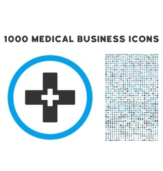 Plus Icon with 1000 Medical Business Pictograms vector