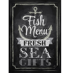 Poster Fish menu fresh sea gifts chalk vector image