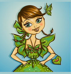 Pretty spring girl with butterfly vector