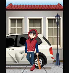Problem boy hit the car window vector