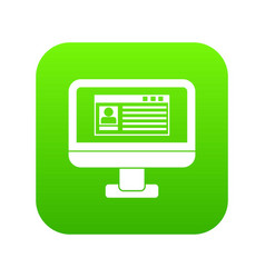 profile information on monitor icon digital green vector image