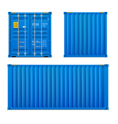 realistic bright blue cargo container set vector image