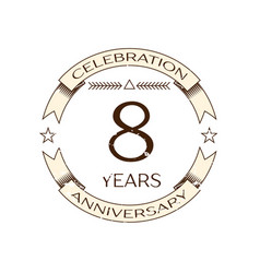 realistic eight years anniversary celebration logo vector image