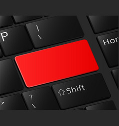 Red button on keyboard danger blank vector