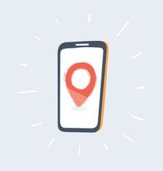 Red location pin on phone screen vector
