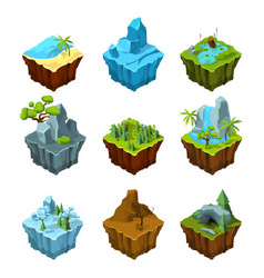 Rock fantasy islands for computer games isometric vector