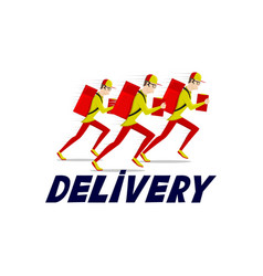 Running delivery man icon vector