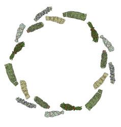 Sage smudge sticks hand-drawn wreath ornament vector