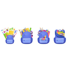 school bag with studying supplies and stationery vector image