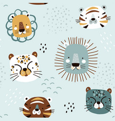 seamless kids pattern with cute african animals vector image