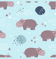 seamless pattern cute hippo vector image
